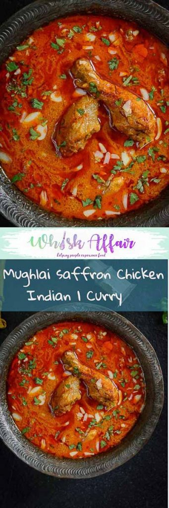 Mughlai Zaafrani Murgh is a rich Chicken curry cooked with cashewnut paste and spices and flavored with saffron. Here is a traditional recipe to make it. #ChickenCurry #Curry Recipes #ChickenRecipes