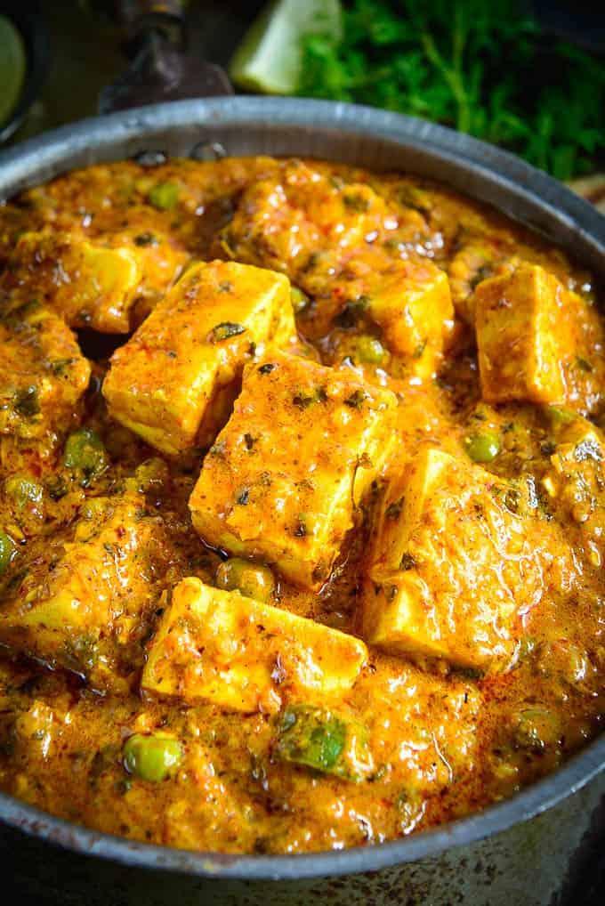 Close up shot of achari paneer recipe.