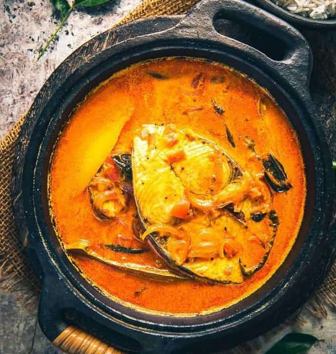 Alleppey Fish Curry is a Kerala Style spicy Fish Curry which is slightly tangy due to the use of raw mangoes or Tamarind.