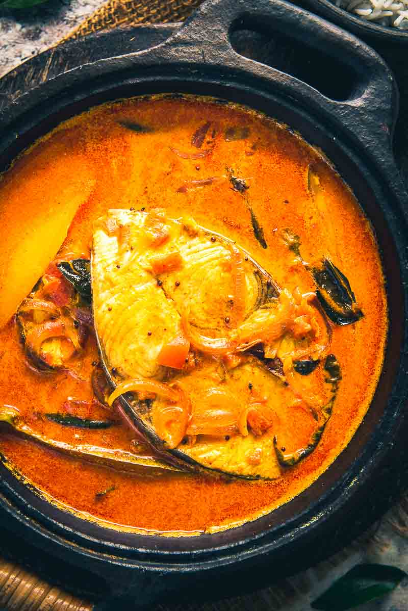 Close up shot of Alleppey fish curry.