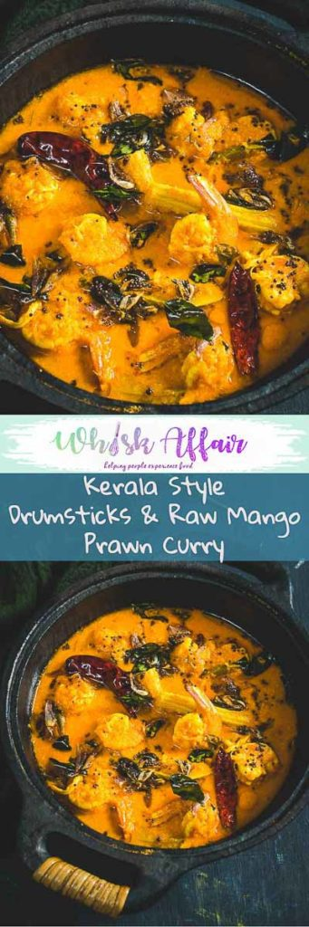 Kerala Drumstick Raw Mango Prawns is a prawn curry made using freshly ground coconut, raw mangoes, drumsticks.It tastes well with steamed rice or Appam.#Shrimps #Curry #Indian