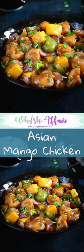 Asian Mango Chicken is a delicious Chinese style chicken gravy with a twist of mango. Enjoy this different recipe with noodles and fried rice! #Mango #Chicken #Recipes