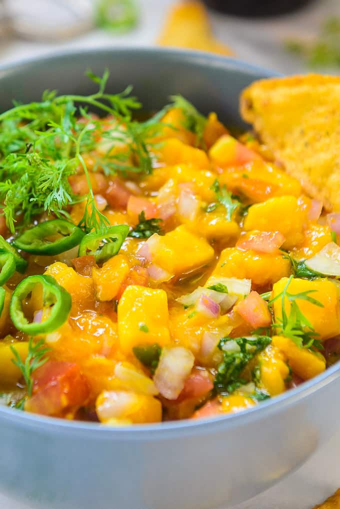 Close up shot of Mango salsa recipe.
