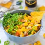 Mango Salsa is a quick and easy dip which you can whip in just a few minutes to serve along with crackers or chips.