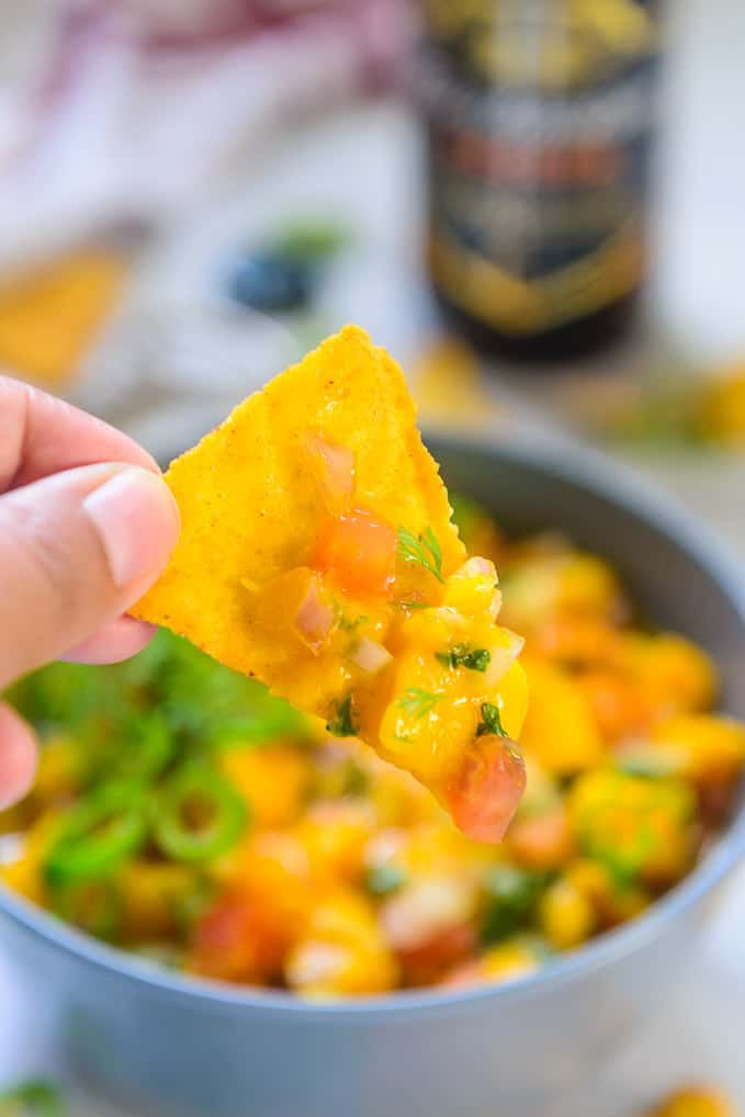 mango salsa with nachos.