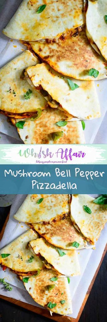 A mix between Pizza and quesadilla, this Mushroom Bell Pepper Pizzadilla is a perfect way to enjoy the best of both of them. #Mudhroom #Recipes #Dinner