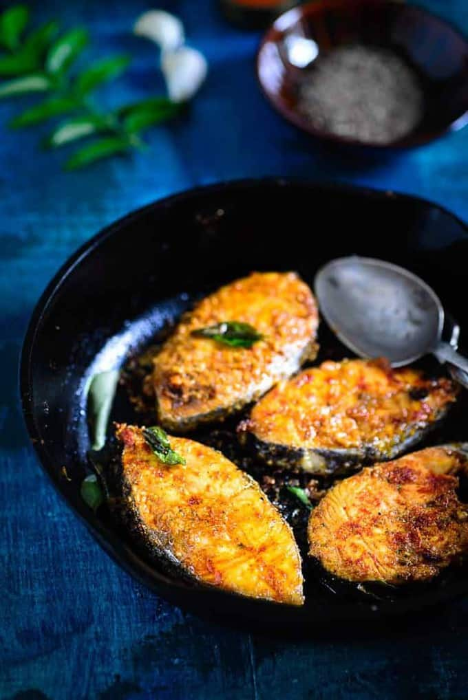 Chettinad Fish Fry is a classic fish recipe from the Chettinad region of Tamil Nadu. This snack or appetiser dish is perfect to serve your guests.
