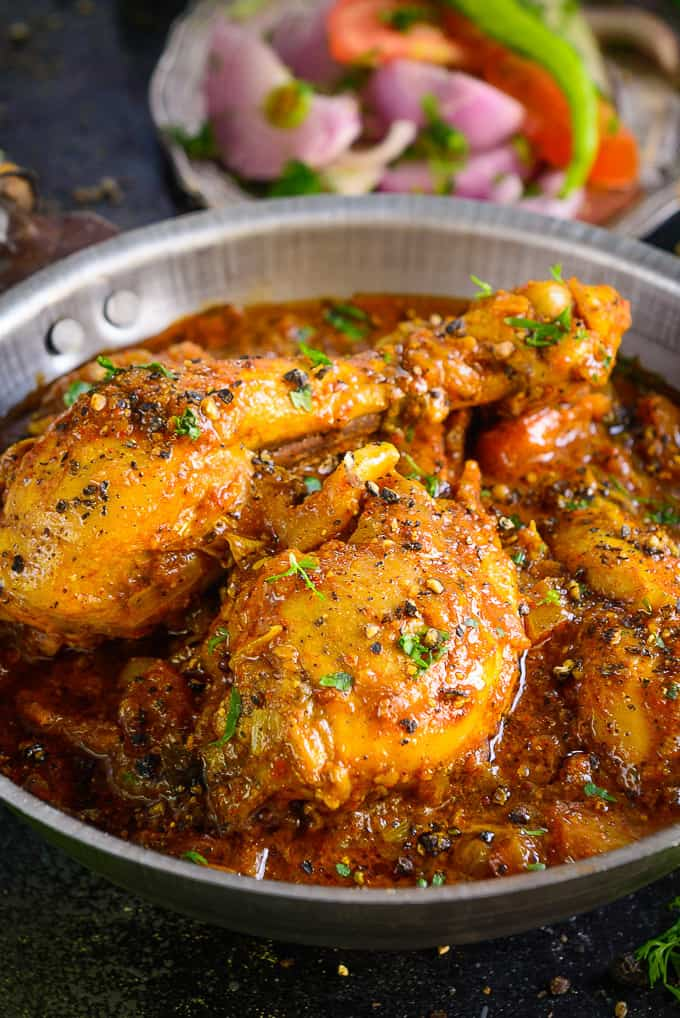 Close up shot of Chicken Chettinad.