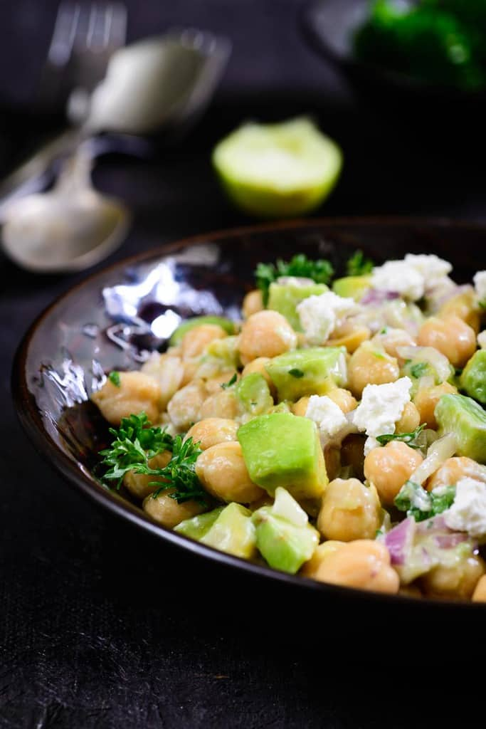 Chickpea Avocado Feta Salad is a simple and easy to make salad which is healthy as well as very flavourful. Just 5 minutes is what you need to mix it up.