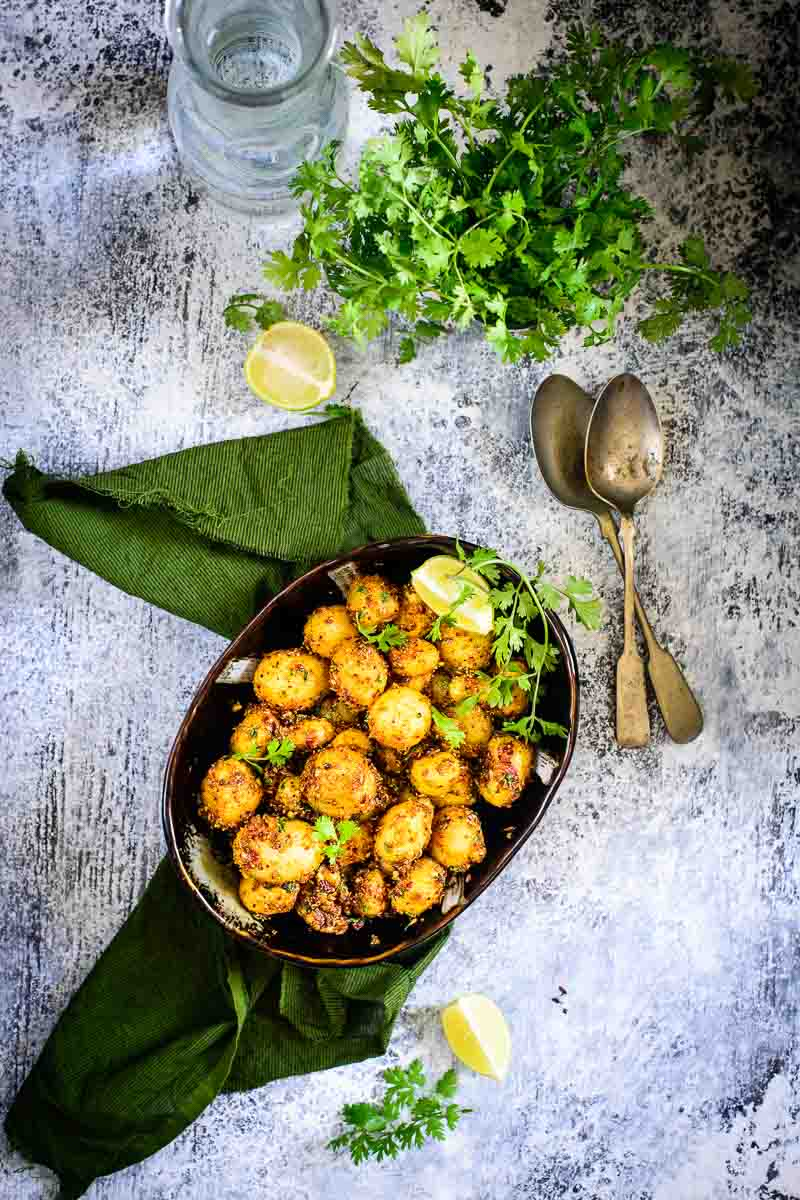 Masala Baby Potato Roast is a simple and quick to make recipe using baby potatoes and freshly ground masala. Here is how to make Masala Baby Potato Roast