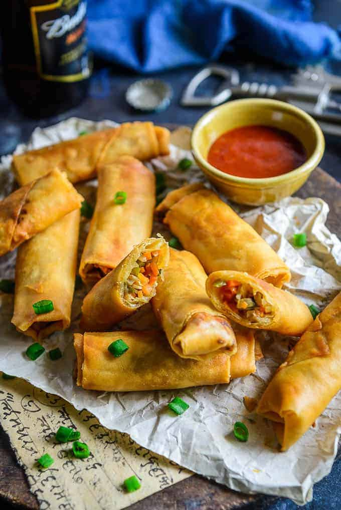 Spring Rolls served in a plate.