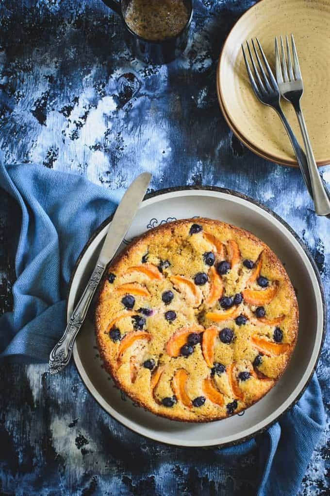 Whole Wheat Apricot Blueberry Cake