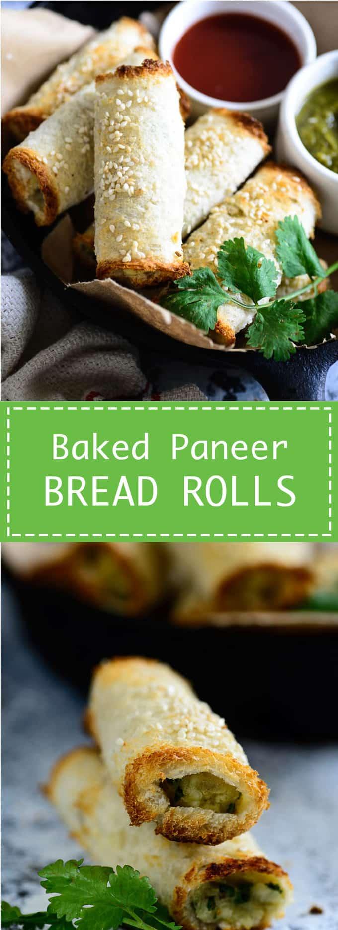 Baked Paneer Bread Rolls