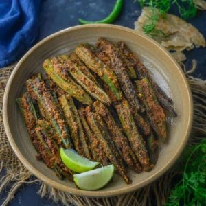 Bharwa Bhindi is lady's fingers stuffed with a tangy and spicy masala mix. It is easy to make, vegan and gluten free. Here is how to make Bharwa Bhindi Recipe.
