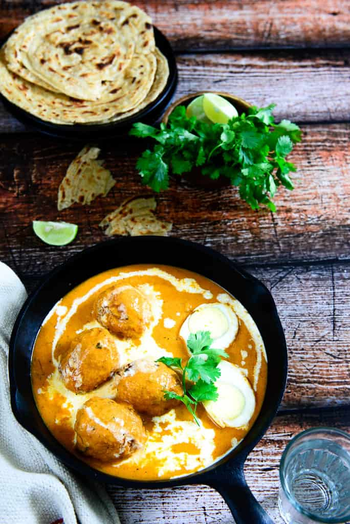 Egg Butter Masala is a rich and delicious recipe in which boiled and fried eggs are simmered in a buttery tomato based gravy.