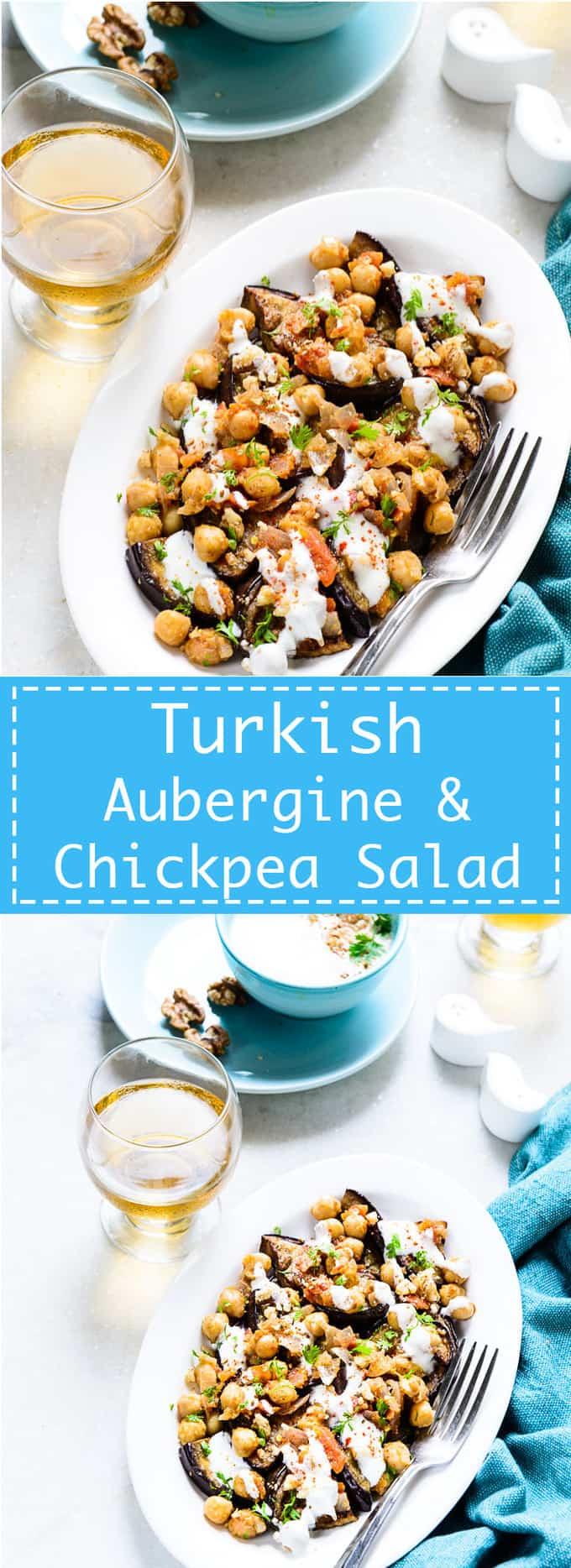 Turkish Aubergine, Chickpea Salad with Walnut Sauce