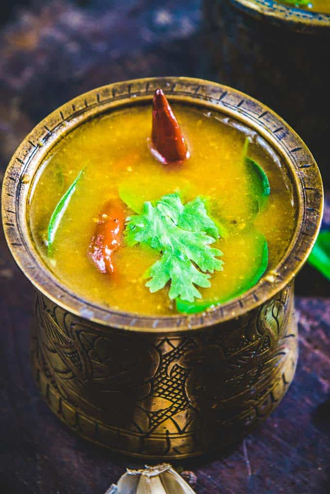 Close up shot of kerala style rasam