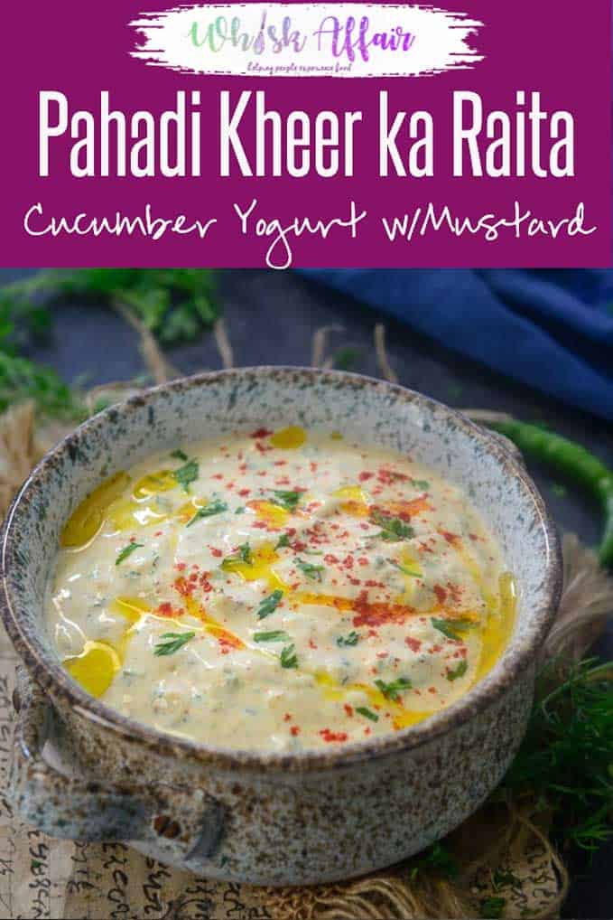 Pahadi Kheere Ka Raita is basically grated cucumber whisked in fresh yogurt and flavored with mustard seeds. Here is a simple recipe to make it. #Indian #Accompaniment #SideDish #Raita