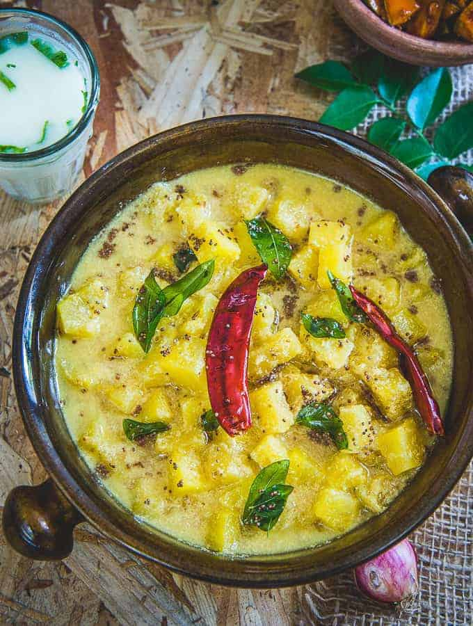 Pineapple pachadi served in a bowl.