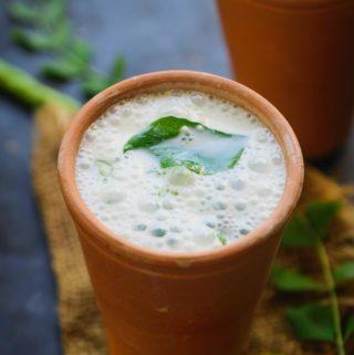 Sambaram served in a glass.