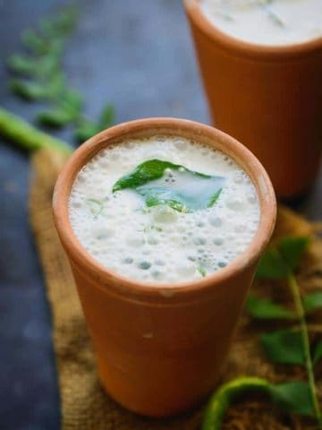 Sambaram served in a glass.