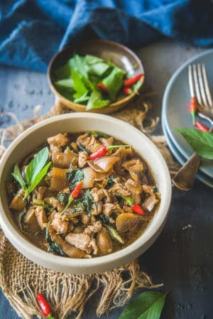 Thai Basil Chicken Served in a bowl.