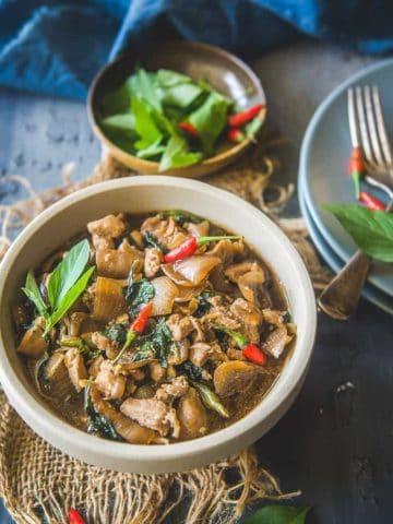 Thai Basil Chicken Served in a bowl.