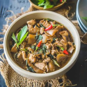 Thai Basil Chicken is a quick and easy to make Thai dish with bold flavours which can be served with steamed rice or noodles.