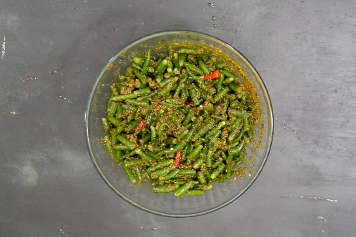 Chillies mixed with masala.