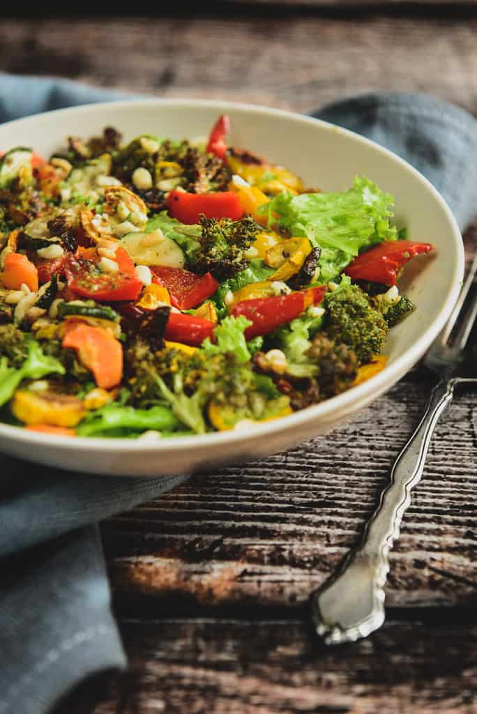 Roasted Vegetable Peanut Salad with Basil Vinaigrette is a healthy to make salad which has a nice crunch from peanuts and a lovely basil flavour.
