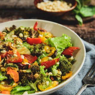 Roasted vegetable and peanut salad