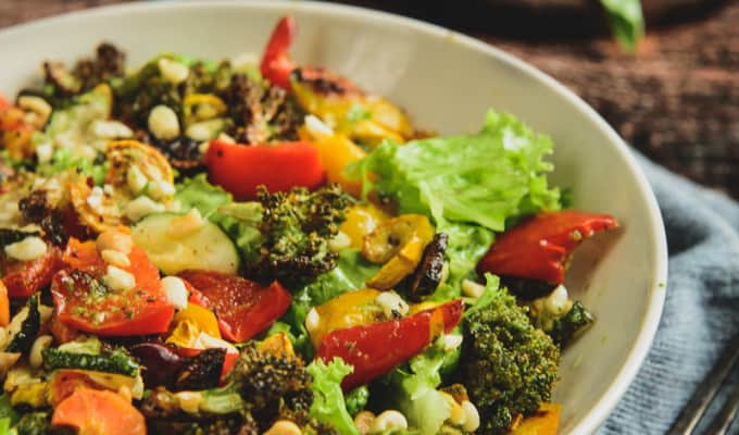 Roasted Vegetable and Peanut Salad with Basil Vinaigrette
