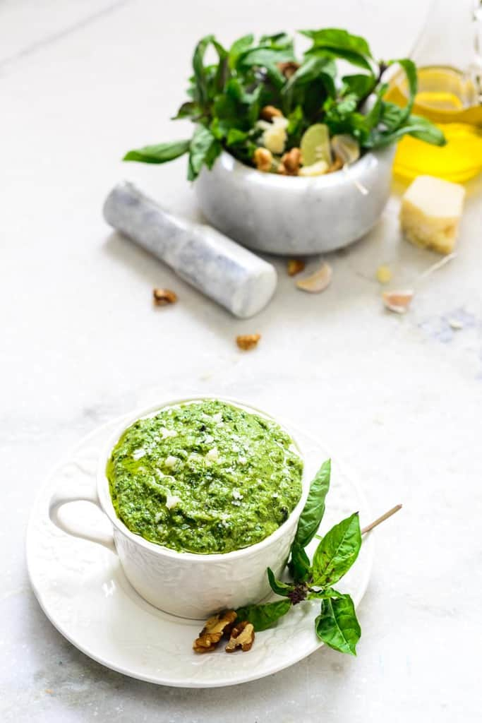 Basil Walnut Pesto Recipe - Whisk Affair