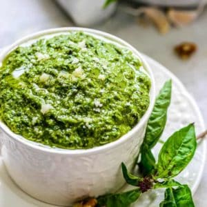 Basil Walnut Pesto is an interesting variation of a very popular sauce recipe called Pesto that is prominently used in the Italian cuisine.