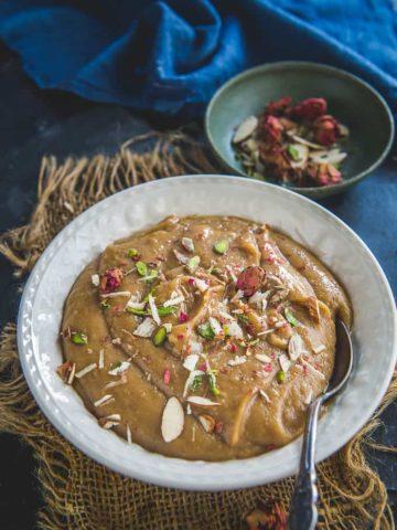 Besan ka halwa served in a bowl.