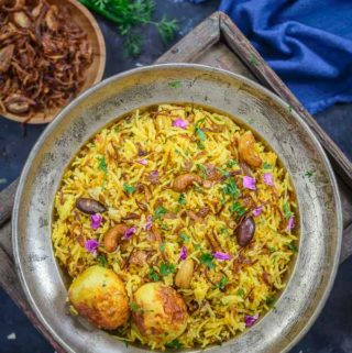Egg Biryani served on a plate.