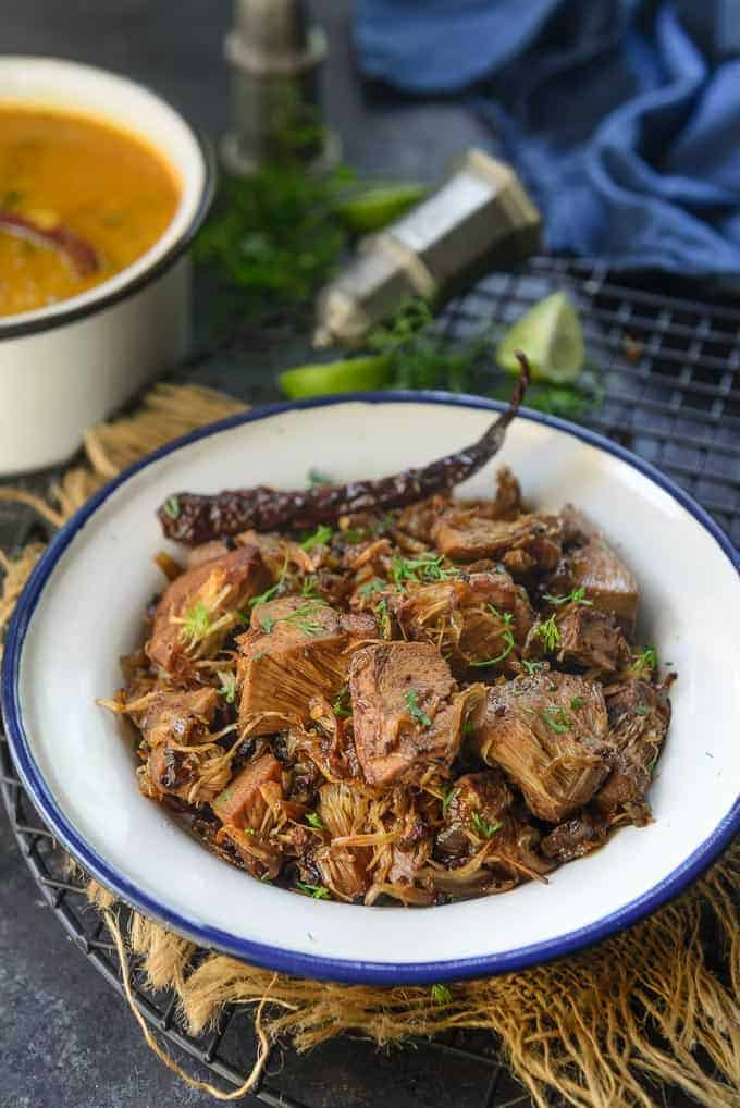 Kathal ki sabji served in a bowl.