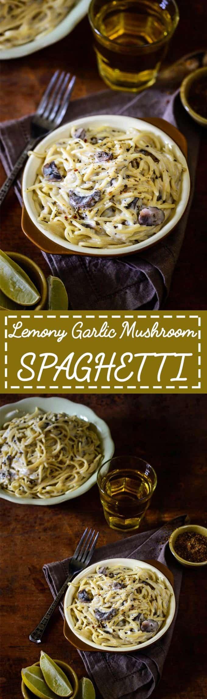 Lemony Garlic Mushroom Spaghetti