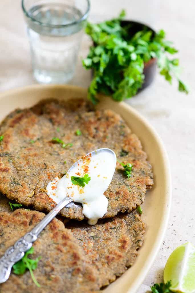 Rajgira Paratha Recipe is made from wholesome and nutritious rajgira or Amaranth Flour stuffed with mildly spiced mashed potatoes.