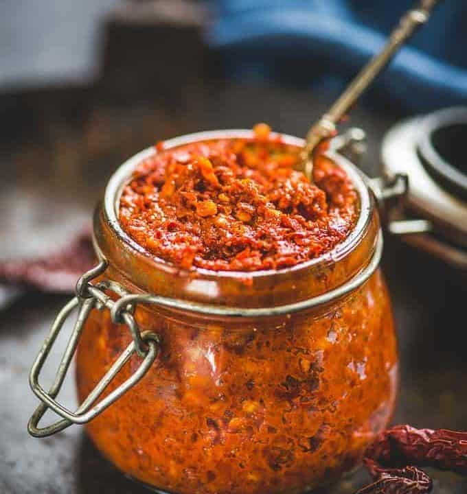 Red chilli paste in a glass bottle
