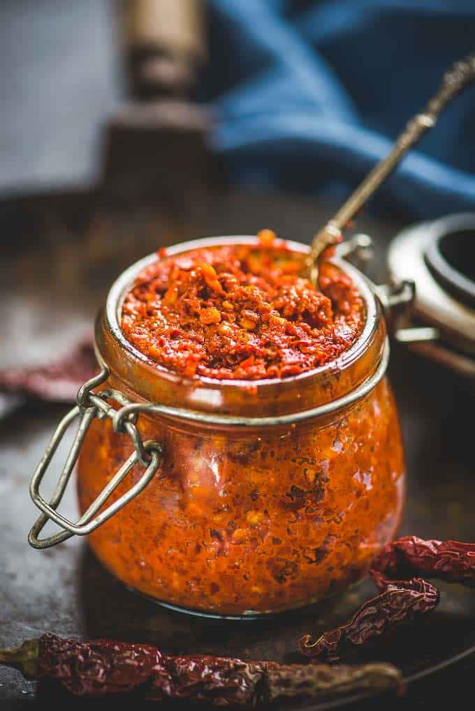 Red chili paste in a glass bottle