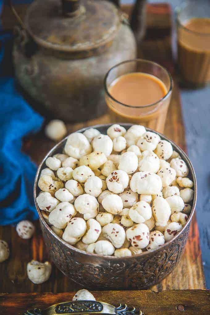 Roasted makhana served in a bowl.