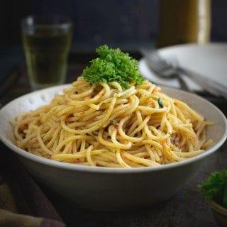 Spaghetti in Tomato Cream Sauce