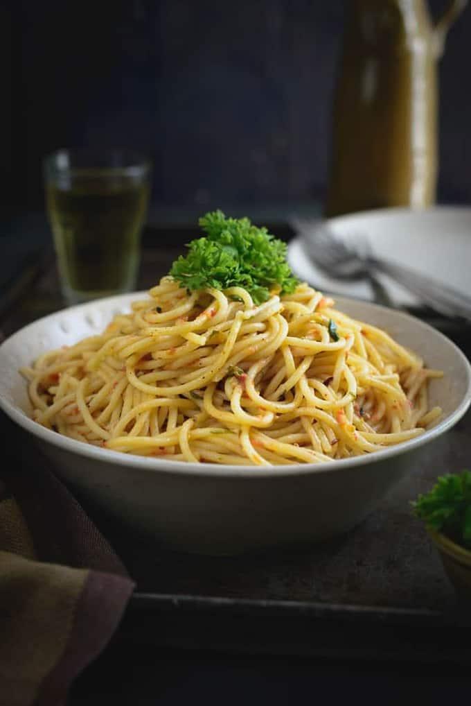Spaghetti in Tomato Cream Sauce Recipe - Whisk Affair