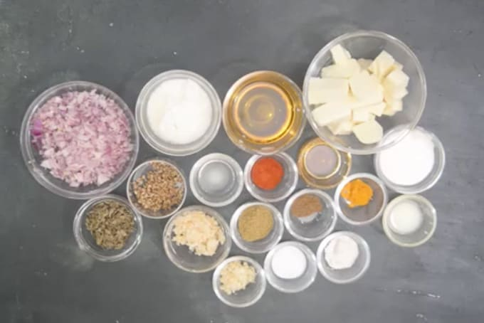 Methi paneer ingredients