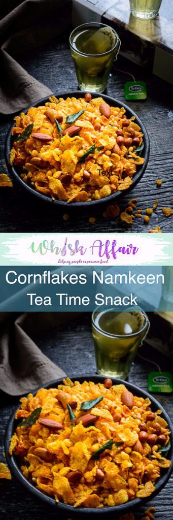 Cornflakes Namkeen, Cornflakes Mixture or corn chivda is a munch-on dish that no festival can do without. It is the perfect companion to a glass of tea. #DrySnacks #IndianSnacks #TeaTimeSnacks #DiwlaiRecipes #Diwali