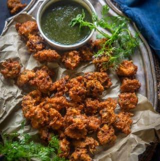 Chawal ke pakode served on a plate with chutney.