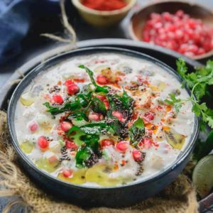 Fruit Raita is a delicious and healthy dip that is prepared with yoghurt and diced fruits, both great for digestion and packed with nutrients.