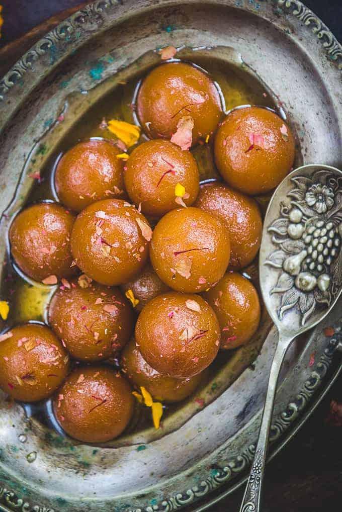 Close up shot of Gulab Jamun recipe.