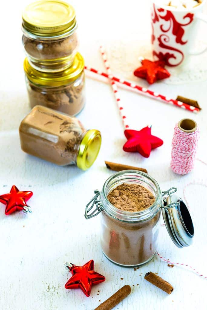 The Homemade Spiced Hot Cocoa Mix is a lovely mix of flavors, with spices like cinnamon, nutmeg, cloves and vanilla lending it a unique flavor and taste.